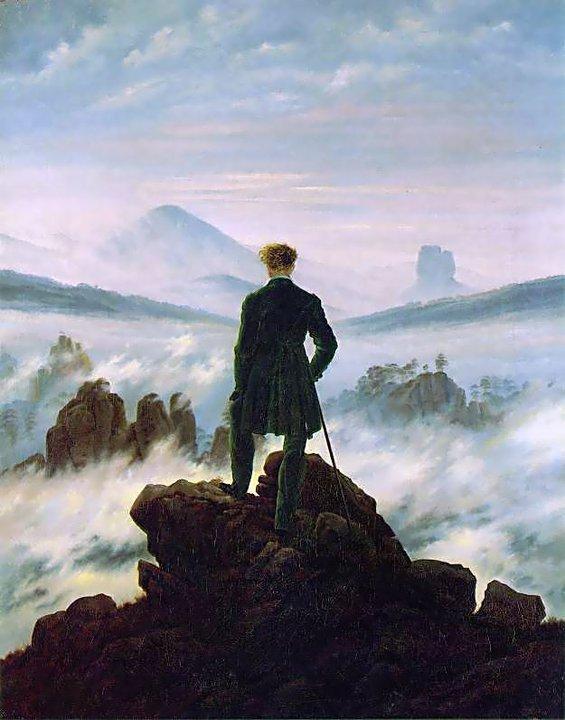El caminante sobre el mar de nubes es una pintura del romanticismo