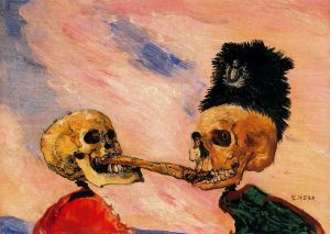 James Ensor - esqueletos disputándose un arenque ahumado (1891)
