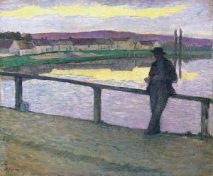 Henri Lebasque - Puesta de sol en Pont-Aven (Muchacho delante del mar) (1894)
