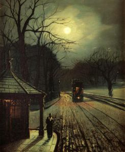 Wilfred Bosworth Jenkins - Leeds tram in the moonlight