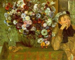 Mujer con crisantemos (Degas, 1865)