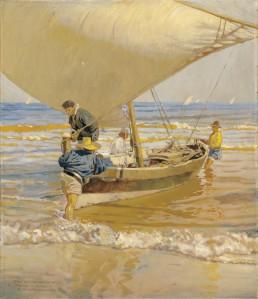 Enrique Martinez Cubells - Pescadores arrastrando la barca