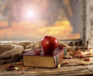 libro de poemas con manzana
