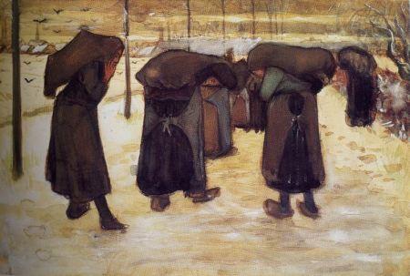 Van Gogh - mujeres con sacos de carbón (1882)