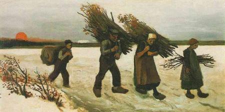 Van Gogh - recolectores de leña en la nieve (1884)
