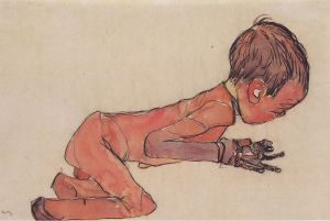 Egon Schiele - Neugeborenes mit angezogenen Beinen - (1910)