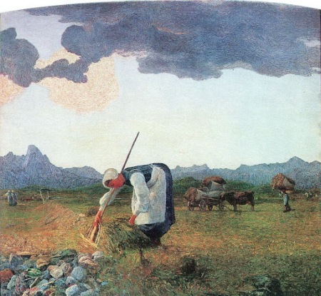 Giovanni Segantini - la cosecha del heno (1898)