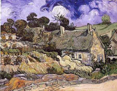 Van Gogh - caserío con tejado de paja en Cordeville (1890)
