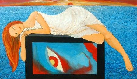 Cristina Alejos Cañada - Poetisa Safo aburrida sobre un televisor (2006)