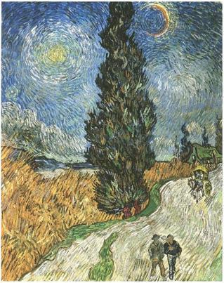 Van Gogh - camino con ciprés bajo cielo estrellado (1890)