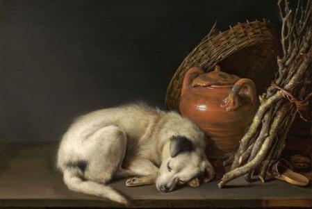 Gerrit Dou - Sleep a dog (1650)