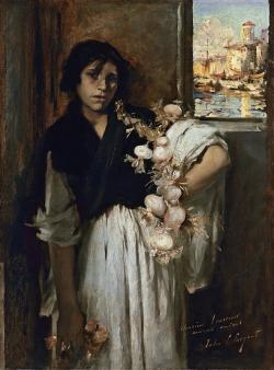 John Singer Sargent - Vendedora veneciana de cebollas (1882)