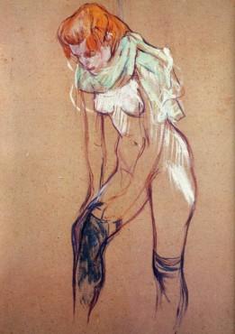 Toulouse-Lautrec - mujer poniéndose las medias (1894)