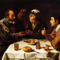 Tres hombres a la mesa (Velázquez, 1618)