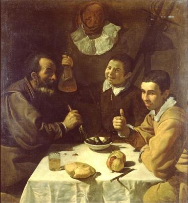 Velázquez - Tres hombres a la mesa o el almuerzo (1618)