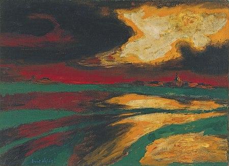 Nolde - Atardecer de otoño (1924)