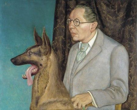 Otto Dix - Hugo Erfuth con perro (1926)