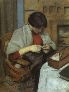 Macke - muchacha cosiendo (1909)