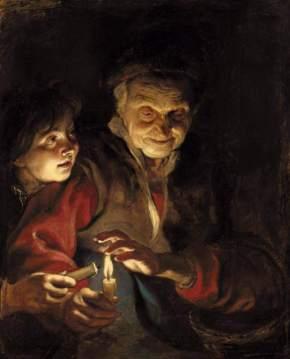 Rubens - anciana con joven y vela (1617)
