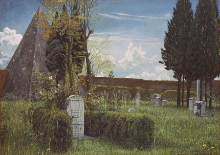 AMO101413 The Grave of Keats, 1873 (w/c on paper) by Crane, Walter (1845-1915); 24.4x34.3 cm; Ashmolean Museum, University of Oxford, UK; (add.info.: John Keats (1795–1821), British poet); English, out of copyright