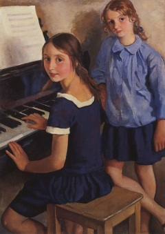 Zinaida Serebriakova - Girls at the piano (1922)