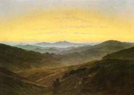 Friedrich - Paisaje con el carácter de los Mittelgebirges bohemios (1835)