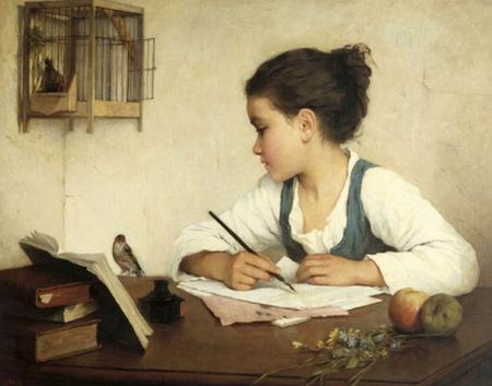 henrietta browne - chica escribiendo (1870)