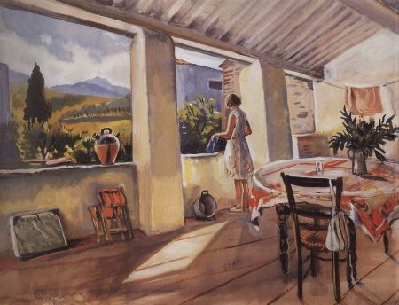 Zinaida Serebriakova - Terrace in Collioure (1930)