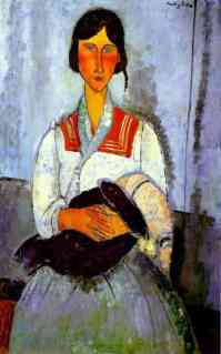 Modigliani - gitana con niña (1919)