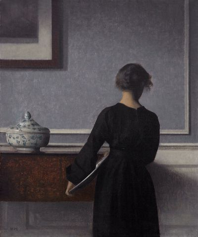 Vilhelm Hammershoi - Interior with Young Woman from Behind
