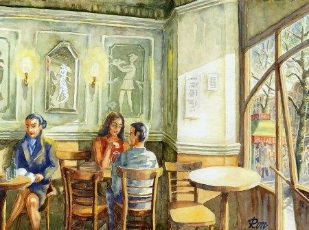 Anónimo - Acuarela del interior del Café de la Ópera en Barcelona