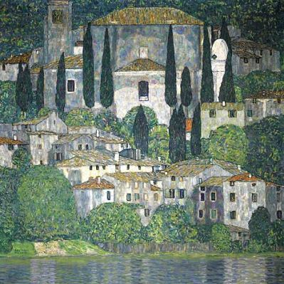 Klimt - Iglesia en Cassone-Paisaje con cipreses' (1913)