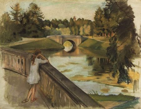 Zinaida Serebriakova - The Bridge at Gatchina (Karpin pond) (1923)