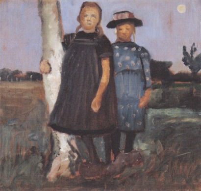 Paula Modersohn -Becker - Two girls standing on the birch trunk (1902)