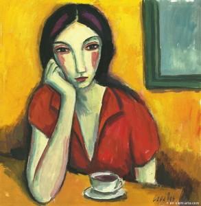 Marti Ceballos - mujer en la mesa con cafe