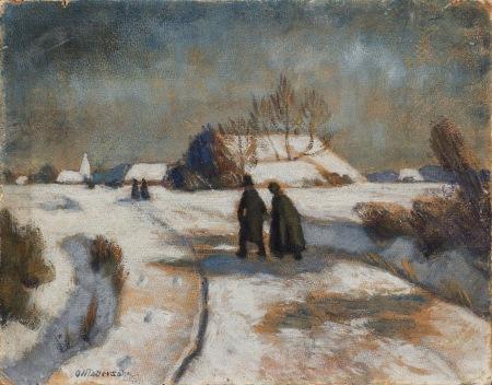 Otto Modersohn - A la iglesia-study