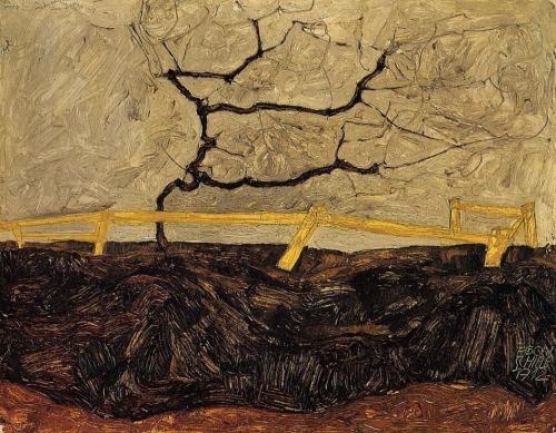egon-schiele-arbol-desnudo-detras-de-una-valla-1912