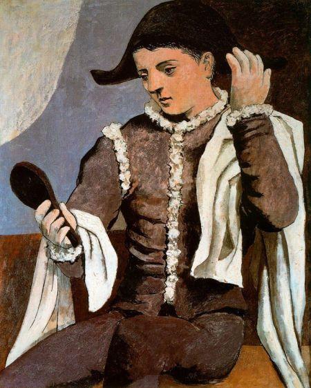 picasso-arlequin-con-espejo-1921