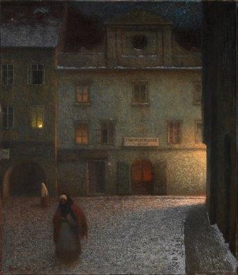 jakub-schikaneder-calle-al-atardecer-1906