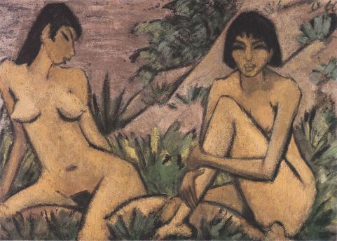 otto-mueller-dos-desnudos-femeninos-en-un-paisaje-1922