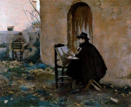 ramon-casas-pintando-a-santiago-rusinol-y-viceversa-1900