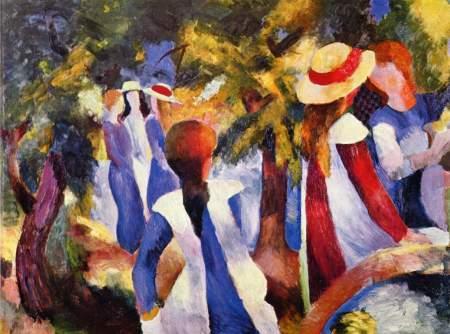 macke-muchachas-bajo-los-arboles-1914