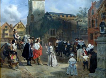 eugene-louis-lami-charles-ier-recevant-une-rose-des-mains-dune-jeune-fille-au-moment-ou-il-est-conduit-prisonnier-au-chateau-de-carisbrooke-pour-etre-bientot-condamne-et-execute-1829