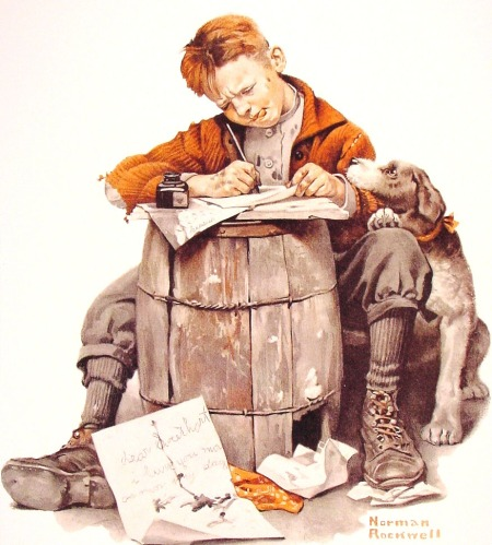 norman-rockwell-little-boy-writing-a-letter-1920