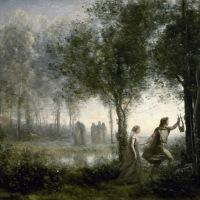 Orfeo conduciendo a Eurídice fuera del infierno (Jean-Baptiste-Camille Corot, 1861)